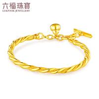 六福珠宝吉祥葫芦麻花链黄金足金手镯含延长链 B01TBGB0053