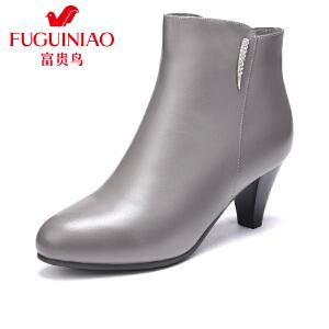 富贵鸟女鞋 秋冬新款踝靴高跟短靴 女粗跟女靴