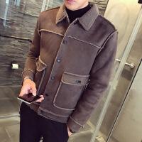香港潮牌冬装新款麂皮绒加绒外套男韩版修身时尚翻领潮流青年夹克