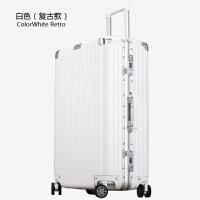 复古铝框拉杆箱万向轮26寸密码箱行李箱28寸24旅行箱20寸男女箱子 白色 复古款