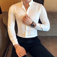 秋装新款3D压花工艺长袖衬衫型男士韩版修身休闲衬衣男装花寸衫