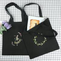 简约帆布包刺绣diy女孩帆布袋立体手工创意制作材料手提包