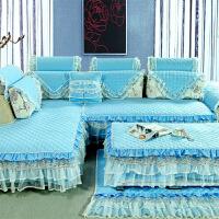 韩式全棉布艺组合沙发垫四季通用蕾丝花边防滑定做沙发套