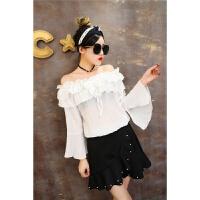 夏季韩版荷叶边系带一字领露肩短袖上衣女宽松显瘦甜美雪纺衫衬衫