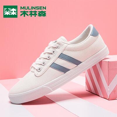 木林森女鞋2019年春季新品帆布鞋女学生韩版小白鞋百搭单鞋女板鞋
