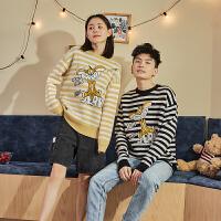 [直降]猫和老鼠联名唐狮秋冬新款情侣毛衣男装圆领条纹针织衫潮流