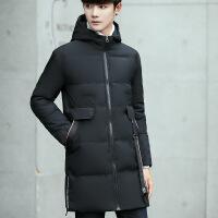 2017年冬装新款潮男士韩版修身中长款棉衣外套男织带可卸