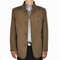 男士商务休闲立领夹克秋冬厚款中年男式夹克外套爸爸装父外套 米黄色派克服