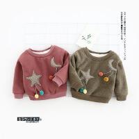 6042-【婴幼儿款】卡通星星月亮加绒卫衣