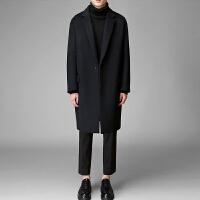 毛呢大衣男 中长款2017冬季英伦修身青年韩版加厚保暖风衣外套潮