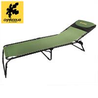 户外单人午休折叠床办公室午睡休闲折叠躺椅便携行军床 军绿色