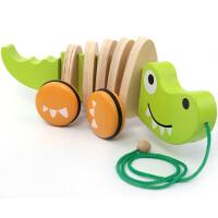 木质婴儿童拖拉玩具拉线狗拉绳鳄鱼 学步拖车0-1-2岁宝宝玩具