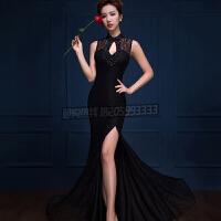 新款宴会晚礼服鱼尾长款主持人性感晚装蕾丝连衣裙修身显瘦女塑造性感身材