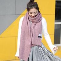韩版女士秋冬季保暖加厚毛线围巾百搭防寒情侣款学生针织男围脖潮