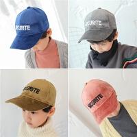 男童棒球帽韩版儿童帽子潮秋冬鸭舌帽金丝绒宝宝休闲小孩