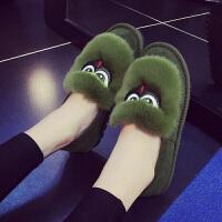 秋冬季棉拖鞋女室内外穿保暖防滑可爱包跟家居家厚底月子毛毛棉鞋 36 【偏小一码】
