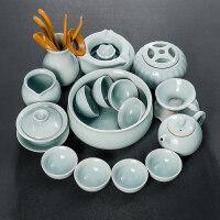 汝窑茶具套装功夫茶道开片整套汝瓷茶壶盖碗茶杯可养