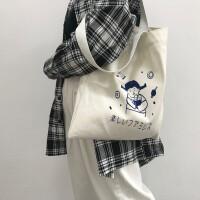 帆布包女单肩网红包包ins布袋学生字母大容量小清新韩版书包简约