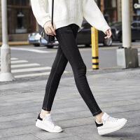 牛仔裤女长裤紧身小脚裤高腰铅笔裤弹力打底裤九分牛仔裤黑色