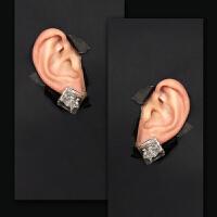 原宿风极简几何超酷拽趣味暗黑 无耳洞耳夹耳钉男女 1.8cm 一对耳钉