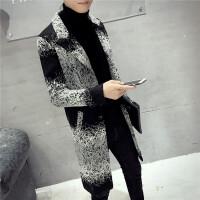 发型师潮流夜店男士韩版修身长款风衣秋冬季英伦风西装领呢子外套