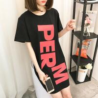韩版睡裙女夏季可爱卡通PINK清新学生睡衣短袖可外穿女家居服 MS#9823字母PERM