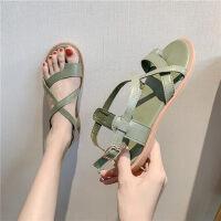韩版学生夏季休闲平底时尚搭配裙子的罗马沙滩鞋女凉鞋女