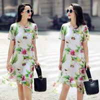真丝连衣裙修身优雅韩版中长款潮流圆领短袖真丝连衣裙年夏季 图片色