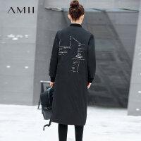 【券后价:489元】Amii极简帅气潮高端90白鸭绒羽绒服修身女2018冬新款休闲刺绣外套