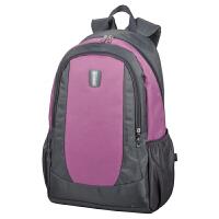 双肩包女男背包休闲大中学生书包双肩背包旅行包韩版 灰色/粉紫