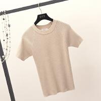 2018春季女装新款修身打底衫针织衫薄款短款套头紧身短袖毛衣