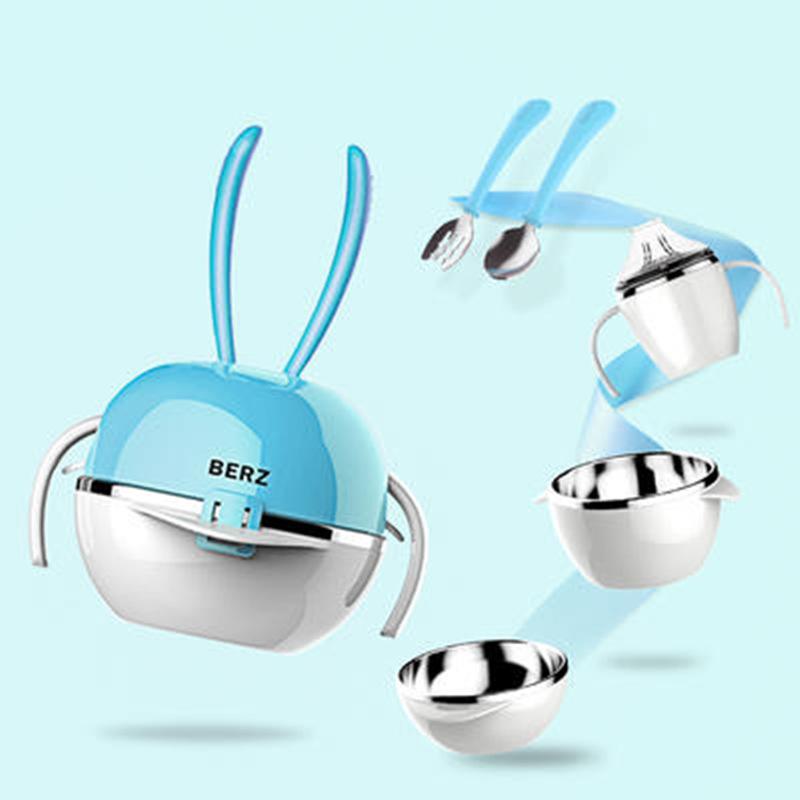 儿童餐具套装婴儿碗勺套装宝宝吃饭不锈钢辅食碗宝宝餐具f6z 安全  放心  耐用