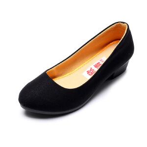 欣清2017春季新品老北京布鞋女时尚休闲浅口坡跟单鞋浅口妈妈鞋