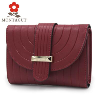 梦特娇MONTAGUT女士钱包 短款钱夹 时尚三折钱包女多功能包