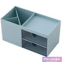 北欧风桌面收纳盒简约抽屉塑料学生文具整理箱办公桌上杂物储物盒