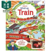 【预售】Wind-up Train 扭动发条玩具书 火车 英文原版 儿童亲子互动读物 Usborne轨道书 进口正版绘本
