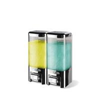 酒店浴室手动双头皂液器宾馆壁挂式沐浴露盒洗发水盒家用洗手液瓶