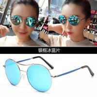 偏光墨镜女士潮新款 时尚炫彩膜太阳镜圆脸太阳眼镜个性