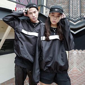 【情侣款】VIISHOW秋季新款长袖外套男女夹克情侣装休闲连帽薄款jacket