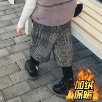 20新款秋冬儿童加厚假两件裤子女童加绒毛呢料格子阔腿裤打底裤 如图格子色