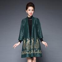 秋季新款中老年女装风衣外套 40-50岁中长款裙摆型妈妈装风衣