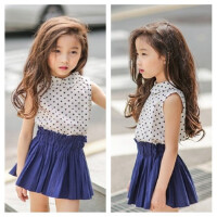 女童衬衫夏季2016新韩版童装纯棉波点无袖翻领衬衫中大儿童上衣潮