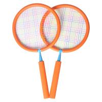 儿童羽毛球拍宝宝球拍双拍拍柔软玩具3-12岁小孩户外子运动玩具 橙色双拍(2-7岁) 圆拍