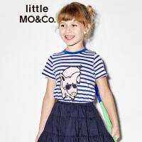 【折后价:131.6】littlemoco夏季新品儿童T恤蓝白条纹墨镜小猪仔印花全棉短袖T恤