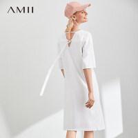 Amii极简时尚法式度假连衣裙夏季新款圆领露背休闲中长T恤裙