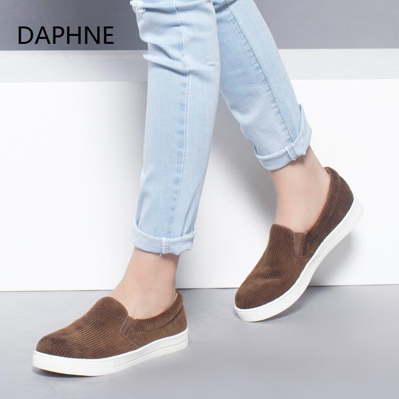 Daphne/达芙妮时尚乐福鞋平底绒布休闲深口单鞋年末清仓,售罄不补货!