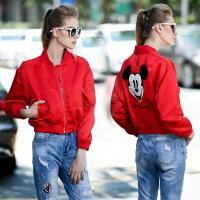 欧洲站高端立体宽松茧形米老鼠刺绣棒球服外套女秋新款夹克 红色