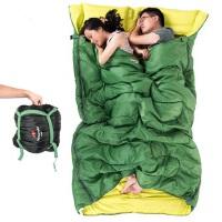 户外便携双人带枕睡袋大空间情侣双人睡袋成人 加宽加厚保暖露营室内午休棉质睡袋