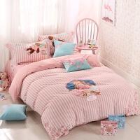 家纺水洗棉四件套 全棉公主风刺绣1.8m纯棉1.2米床三件套床上用品 小女孩