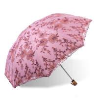 天堂伞23039E金枝玉叶二折蕾丝刺绣防晒伞黑胶遮阳伞防紫外线太阳伞折叠洋伞